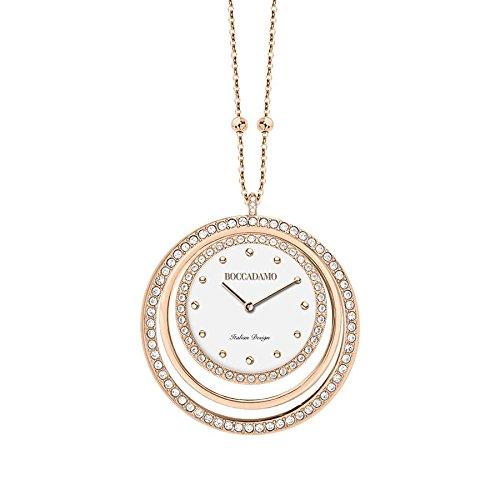 Boccadamo Collar y reloj de bronce chapado en oro rosa con círculos de Swarovski TL012