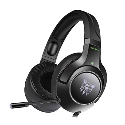 K9 Gaming Headset Strong Bass Cool Light Wired Stereo Over-Ear Gaming Headphone with Mic for PS4 Xbox Laptop Computer Cellphone (Black)