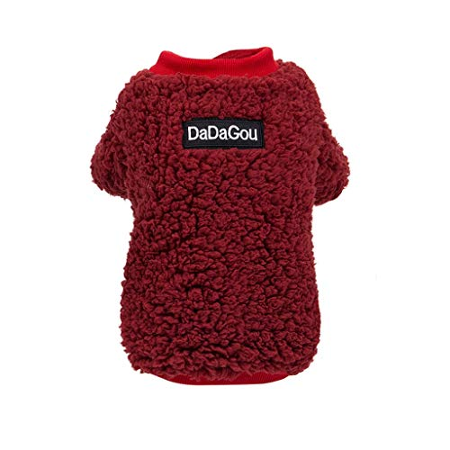 JKRTR Neue Haustierkleidung 2019,Solid Color Sweater Autumn and Winter Fashion Keep Warm Clothing(Rot,M)