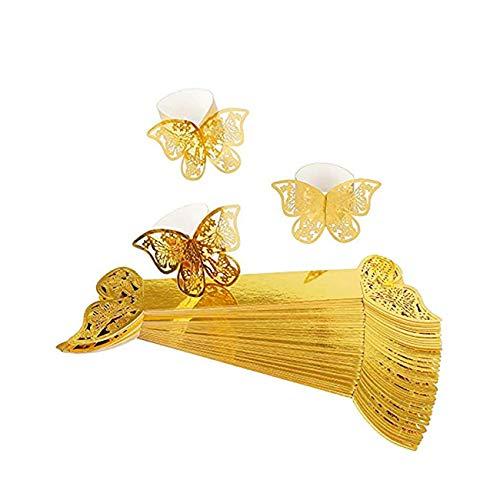 Angels' Schmetterlings Papier Serviettenring, 50 Stück 3D Laser geschnittene Serviettenschnallen Band für Hochzeitsessen Party Serviette Table Festival Jubiläumsrestaurant (Gold)