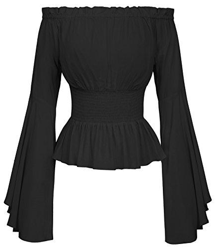 Festliche blusen Damen schwarz Bluse Langarmshirt Gothic Shirt L BP468-1