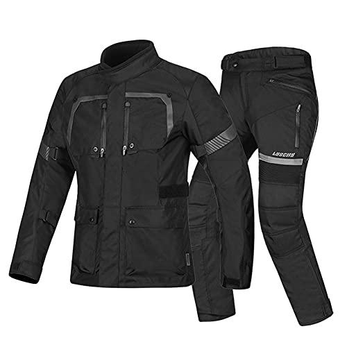 LITI Mono De Moto 2 Piezas Chaqueta De Moto Y Pantalón Textil Impermeable - Mono De Moto con Protecciones CE