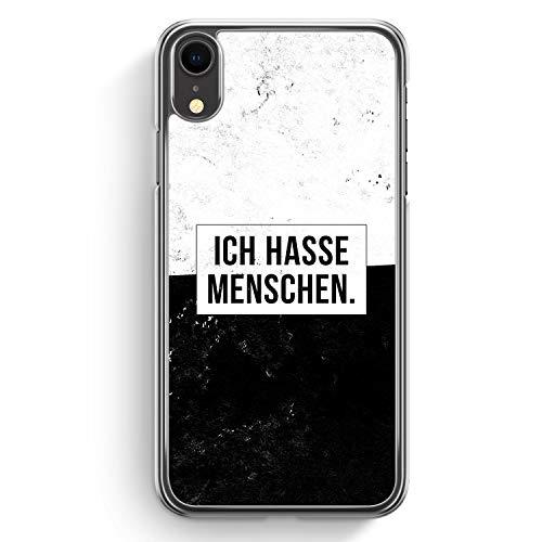 Ich Hasse Menschen - Hülle für iPhone XR Hardcase Cover - Motiv Design Cool Witzig Lustig Spruch Zitat Grunge - Transparente Durchischtige Handyhülle Schutzhülle Case Schale