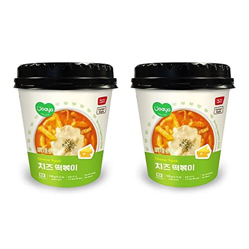 [Joayo] 2 Cup of Instant Topoki Tteokbokki Korean Snack 120g - Rice Cakes Different Flavors Spicy Korean Food Kfood Tteok 떡볶이 떡 (Cheese)
