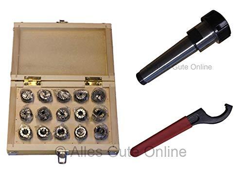 Spannzangenfutter MK3 M12 DIN228A ER25 + ER25 430E Spannzangen-Set HK (15 St.) + Schlüssel H