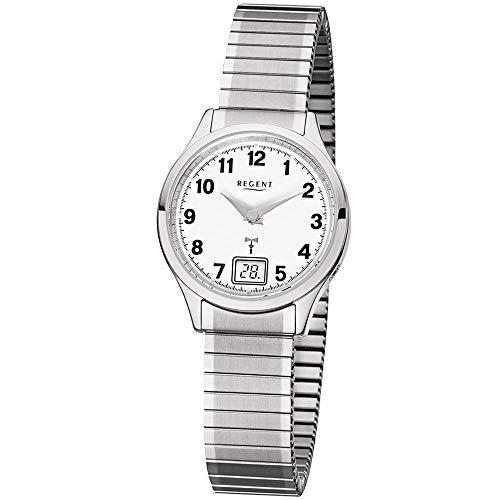Regent Damen-Armbanduhr Elegant Analog-Digital Edelstahl-Armband silber Funkuhr-Uhr Ziffernblatt weiß URFR210