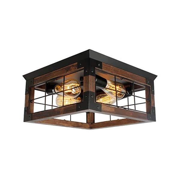 JHLBYL Farmhouse Wood Flush Mount Ceiling Light,Black Metal Rustic Close to Ceiling Lighting Industrial Square Wire Cage…