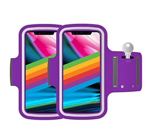 "AR-Gun Brazalete Deportivo Pack 2 uds valido para Smartphones de hasta 6.8"" Compatible con iPhone 11 Pro MAX XS MAX 11 Samsung Galaxy S20 Plus S10 Plus S9 Plus S8 Plus (Violeta)"