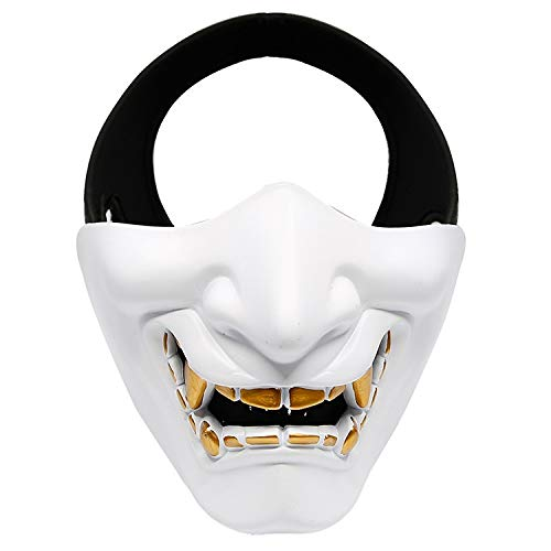 To Li Bai Utry half mask - one size - soft shot gun/paintball/BB gun / / CS game/Hunting/shooting ideal mask for Halloween, role playing, costume party and movie props (Color : White)