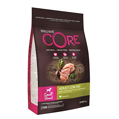 Wellness CORE Small Breed Adult Low Fat, Hundefutter trocken getreidefrei, für kleine Rassen, hoher Fleischanteil, ohne künstliche Zusatzstoffe - Pute, 5 kg