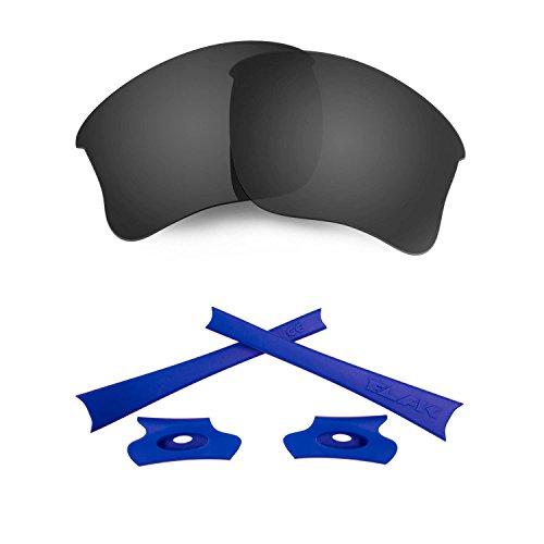 HKUCO for Oakley Flak Jacket XLJ Black Polarized Replacement Lenses and Dark Blue Earsocks Rubber Kit
