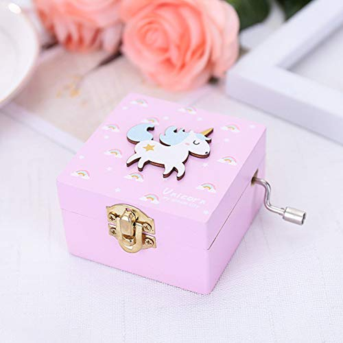 TZSHUQ Houten Muziek Box Cartoon Gesneden Klok Muziekdoos Gift Mini Hand Crank Muziekdoos roze