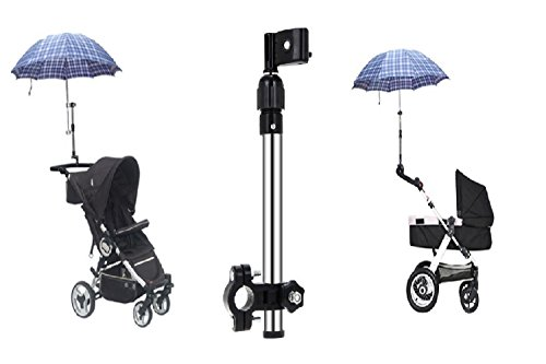 LL-Golf® ausziehbarer Schirmhalter bis zu 40cm für Fahrrad/Kinderwagen/Rollstuhl/Trolley/Buggy/Golf zur Befestigung an RUNDEN Elementen bis 2,5cm Durchmesser