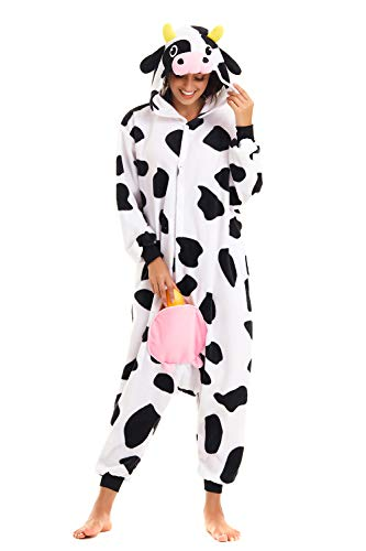 CANASOUR Halloween Custume Adult Anime Cow Polyster Women's Onesie Costume (Small, Cow)