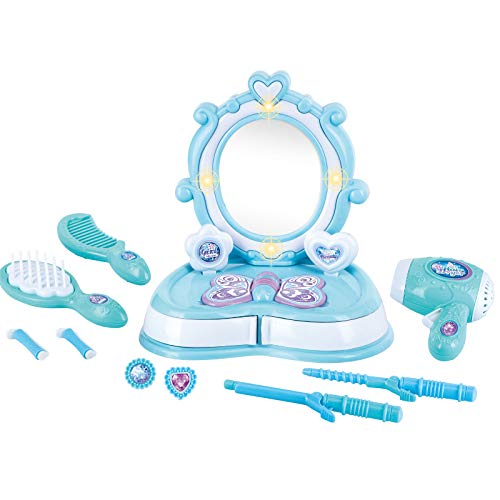 BETTINA Cute Vanity Set with Mirror Drawers for Little Girls, Toy Hair Dryer and Styling Accessories, Beauty Salon Toys for Girls with Lights & Sounds(Blue)