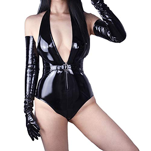"""DooWay PU Black Super Long 27"""" Women Fashion Gloves Evening Party Bar Sexy Opera Glossy Pair Finger Gloves Cosplay Matching"""