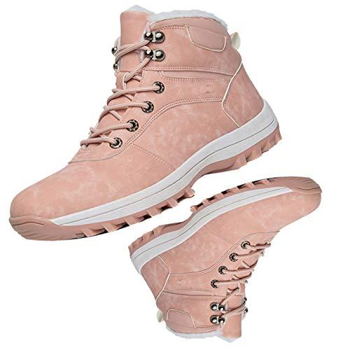 BSTL Winterschneeschuhe, Samtwarme Baumwollstiefel, rutschfeste, Verschleißfeste, Atmungsaktive Outdoor-high-top-Stiefel Für Paare,36EU-pink