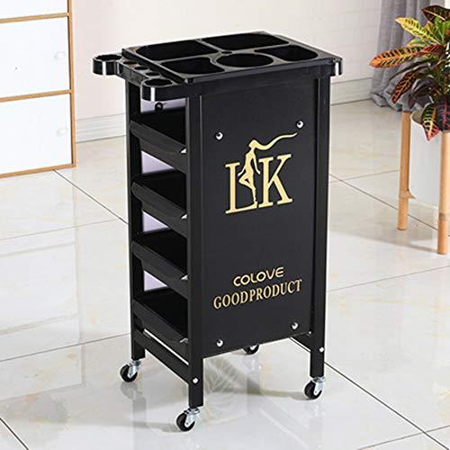 Chariot De Coiffure De Rangement Service Professionnel 5 Etages À Roulettes Noir Pour Salon De Coiffure, Maquillage, Institut De BeautÉ (Noir/D'or)