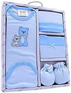 Primera puesta bebe algodon 100% ositos azul tacto suave y agradable. Gorro, patucos, manoplas y body. Set de regalo