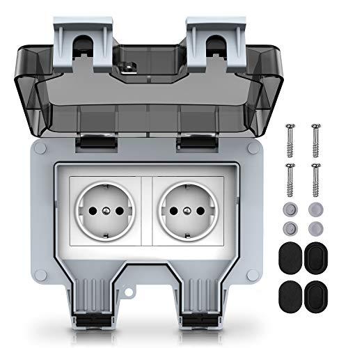 Kupton Prese per Esterno, Presa Elettrica Impermeabile a Parete a Doppio Interruttore, Grado di Protezione IP66, Progettata per il Giardino Esterno e il Garage