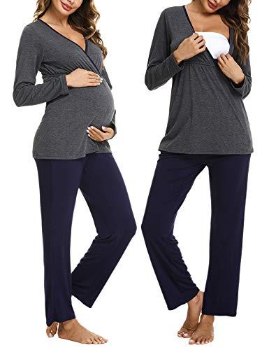 Hawiton Stillpyjama Umstandspyjama Baumwolle Zweifarbiger Schlafanzug für Schwangerschaft Lang Langarm Stillzeit Nachtwäsche für Pyjama Set mit Stillfunktion
