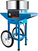 VBENLEM 20.5 Inch Commercial Cotton Candy Machine with Cart Blue Stainless Steel Electric Candy Floss Maker with Cart Perfect for Various Parties