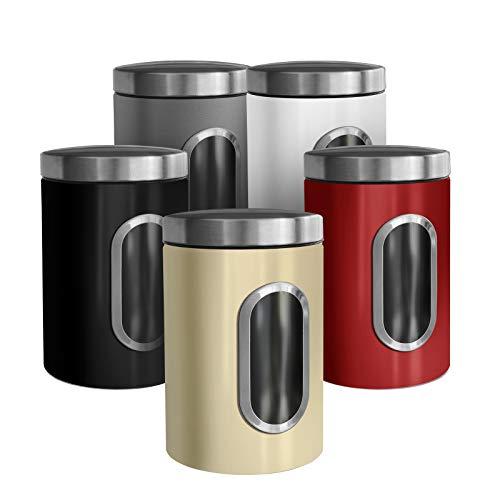 casa pura Trendige Vorratsdose Scatola zur Aufbewahrung von Mehl Zucker Müsli Kaffee Tee | Metalldose mit luftdichtem Deckel | Großes Sichtfenster | In 5 Farben (3er Set, grau)