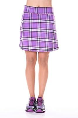 "JWalking Designs ""Mad About Plaid"" Women's Three-Pocket Active Skirt Purple Plaid"