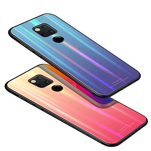 Kkkie Hülle kompatibel Huawei Mate 20, Tempered Glass Stoßfest Back Case TPU Bumper Dünn Farbverlauf Schutzhülle Kratzfest Protective Handyhülle kompatibel Huawei Mate 20 Pro (Schwarz, Mate 20 Pro) - 6