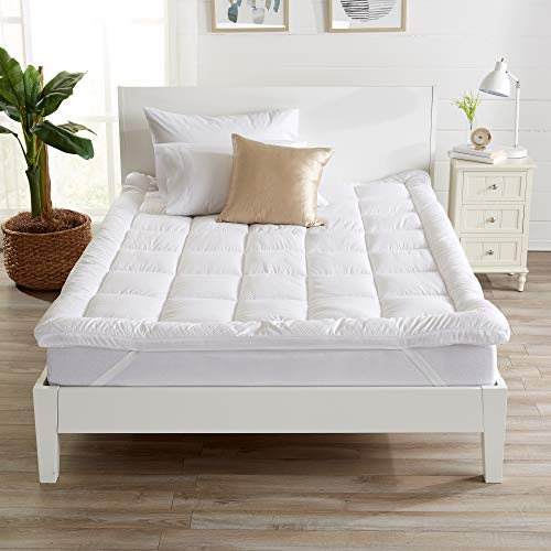 "Extra Thick Mattress Topper. Breathable Down Alternative Featherbed. 2-Inch Thick Mattress Pad. Fits Mattresses up to 18"" Deep (Queen)"