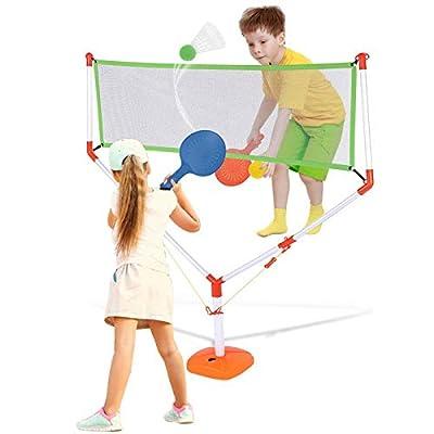 Portable Badminton Net, 2 in 1 Racket Game Set ...