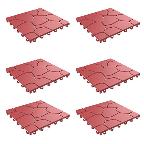 Pure Garden 50-LG1172 Patio and Deck Tiles – Interlocking Look Outdoor Flooring Pavers Weather Resistant and Antislip Square DIY Mat (Brick Red 6 Pack), 6 Count