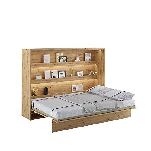 LENART Bed Concept - Cama plegable (140 x 200 cm), color roble claro