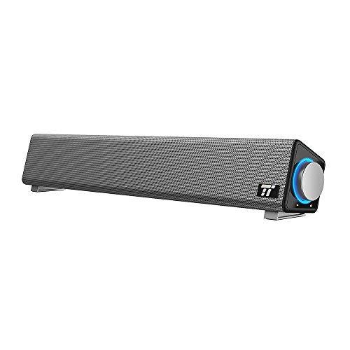 TaoTronics Soundbar per Computer Cablata USB con Ampia Compatibilità Altoparlante PC con Ingresso Microfono e Uscita Cuffie per PC/Tablet /
