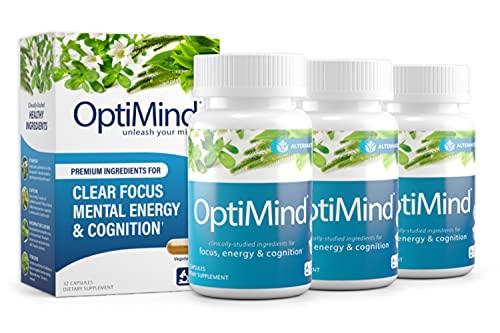 OptiMind Nootropics Premium Brain Booster Supplement   Enhance Your Focus and Energy   Caffeine   L Tyrosine   Taurine   Vitamins D & B 12   As Seen on Netflix - 3 Bottles, 32 Count Each