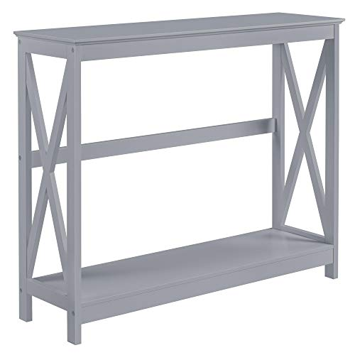 YAHEETECH X-Design Console Table 2 Tier Sofa Side Accent Tables w/Storage Shelf for Living Room Entryway Hallway, Gray