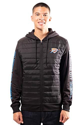 Ultra Game NBA Oklahoma City Thunder Mens Full Zip Soft Fleece Hoodie Jacket, Black, Large
