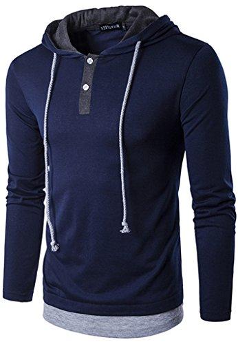 WHATLEES Pull à Manches Longues avec Capuche Sweat Shirt B417 - Homme M Bleu Marine