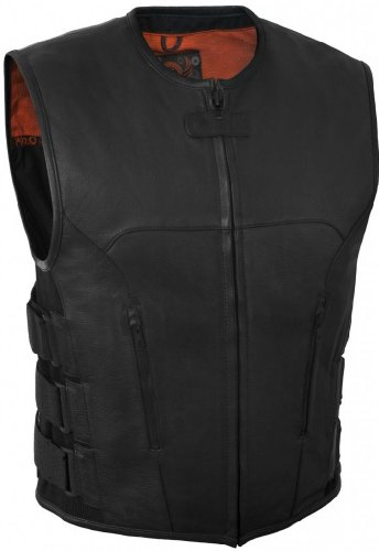 True Element Mens Swat Team Style Leather Motorcycle Vest with Side Size Adjustment (Black, Large)