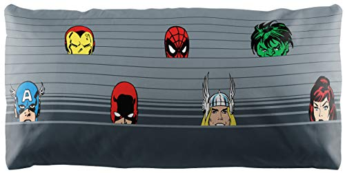 Jay Franco Marvel 80th Anniversary Peeking Body Pillow Cover - Kids Super Soft 1-Pack Bed Pillow Cover - Measures 20 Inches x 54 Inches (Official Marvel Product)
