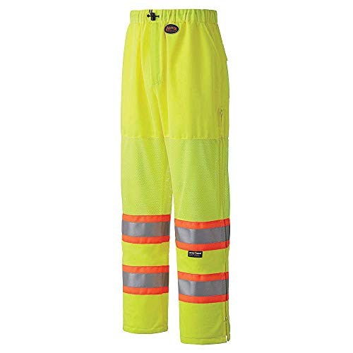 Pioneer High Visibility, Lightweight Traffic Safety Work Pants with Draw String, Reflective Tape, Leg Zippers, Yellow/Green, Unisex, 4XL, V1070360U-4XL