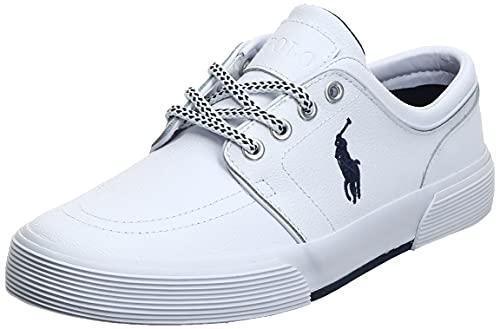 Polo Ralph Lauren Herren Faxon Leder Fashion Sneaker, Weißes Sportleder, 41 EU
