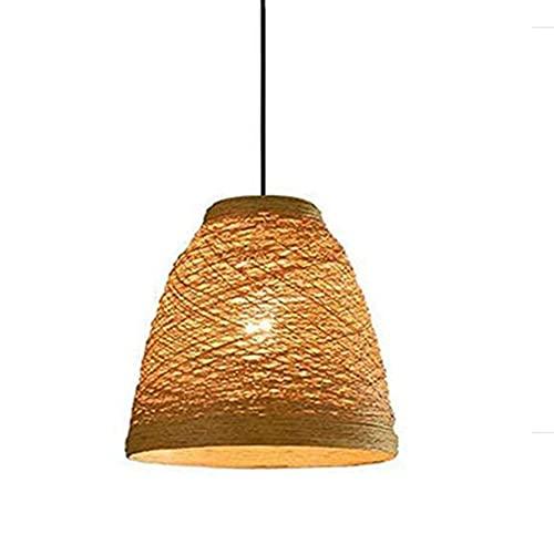 CSSYKV Candelabro Cane Weave Cuerda de cáñamo Pantalla de Mimbre Techo Simple Creativo Iluminación Fija para Restaurante Bar Lámpara de Techo E27 Lámpara Decorativa de Altura Ajustable