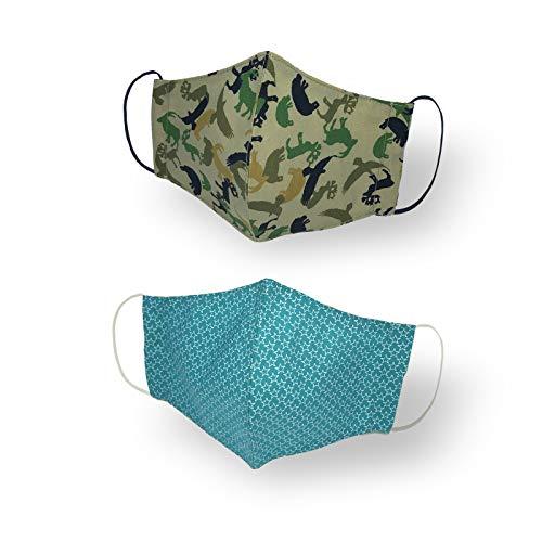 Kanguru Green Mask, Set 2 Pezzi, Mascherina Facciale, 100% Cotone, Lavabile, Riutilizzabile, Per Bambino 2-5 Anni - 10 Gr