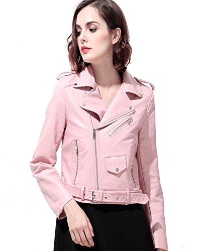 LY VAREY LIN Women's Faux Leather Motorcycle Jacket PU Slim Short Biker Coat (XL, Pink)