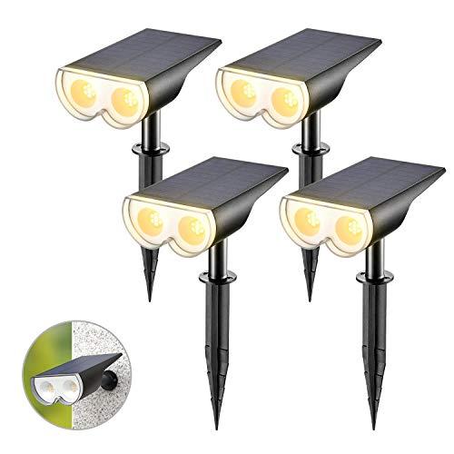Linkind LED Solar Solarlampen, Licht-Sensorik Solarleuchte, 3000K Wam Weiß Solarlicht, IP67 Wasserdicht Außenwandleuchte 650lm, Wiederaufladbar Strahler 4er Pack