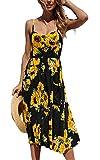 HAVANSIDY - Vestido de verano para mujer, espalda descubierta, corte delgado, con tirantes Tournesol Noir XL
