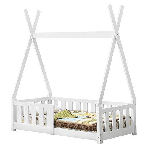 [en.casa] Cama para niños pequeños Cama Infantil 140x70cm Estructura Tipi de Madera Pino con reja de Seguridad (Blanco)