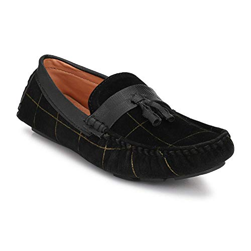 Big Fox Men's Black Synthetic Driving Suede Check Loafers 7