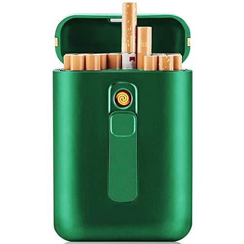 VIY Caja de Cigarrillo, con Encendedor, 20 Piezas de Cigarrillos Regulares, portátil, tamaño King, encendedores USB, 2 en 1, Recargable, Sin Llama, Resistente al Viento, Encendedor eléctrico,Verde